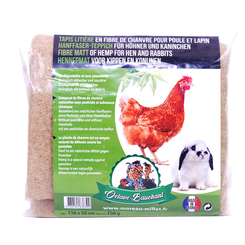 Tapis de litiere poule et lapin en fibre de chanvre