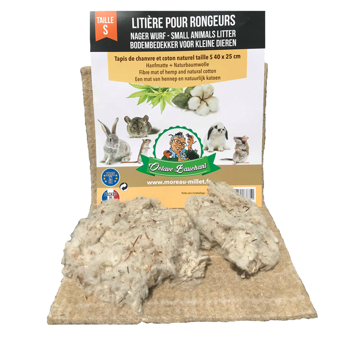 Litière rongeur tapis chanvre taille S