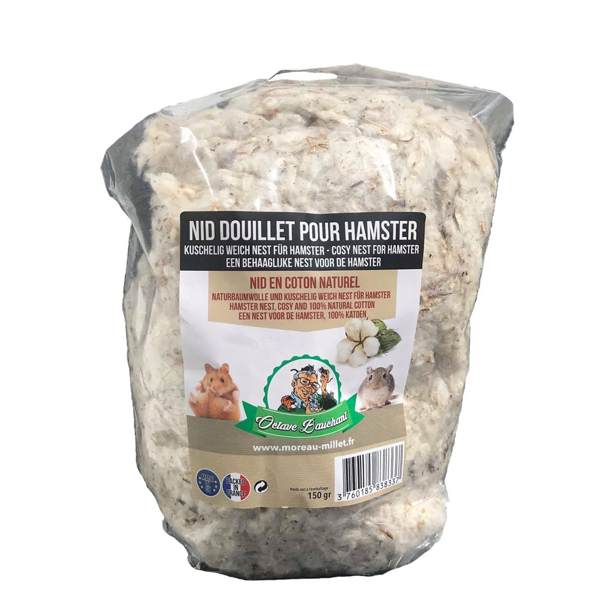 Nid douillet en coton naturel pour Hamster Octave bauchant 150gr
